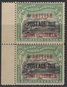 NORTH BORNEO SGD48 1910 18c BLACK & GREEN MNH PAIR