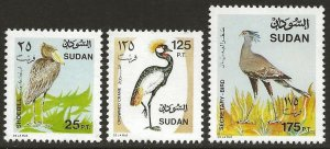 Sudan The 3 Birds from the 1991 Definitive Set #404, 408, 410 VF-NH