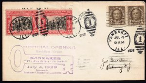 US STAMP Kankakee Airport JULY 4, 1929 OFFICIAL OPENING CACHET COVER