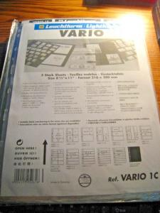 VARIO STAMP STOCK SHEETS - 16 UNOPENED PACKAGES OF 5 SHEETS EACH - 11 DIFFERENT