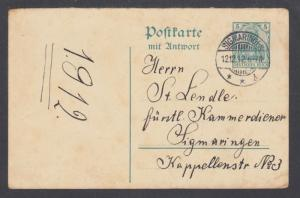 Germany Mi P92A. 5pf Germania Reply Postal Card with SIGMARINGEN 12.12.12 cancel
