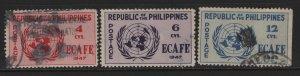 PHILIPPINES, 516-518, (3)SET, USED, 1947, UNITED NATIONS EMBLEM