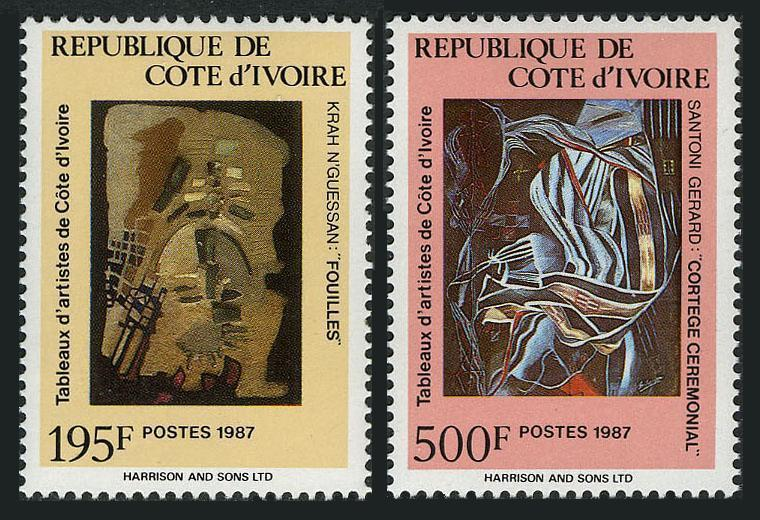 Ivory Coast 841-842,MNH.Mi 955-956. Paintings by local artists,1987.