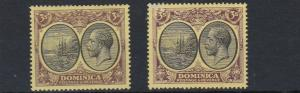 DOMINICA  1923 - 33   S G 86 + 89  2 X 3/-  VALUES    MH