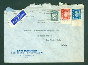Norway. 1953. Cover Commercial.  Raw Material: Multi Franking. N.Y. USA