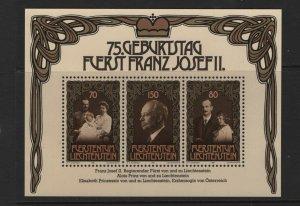 LIECHTENSTEIN 710 Souvenir Sheet, MNH, 1981 Prince Franz Joseph II Birthday