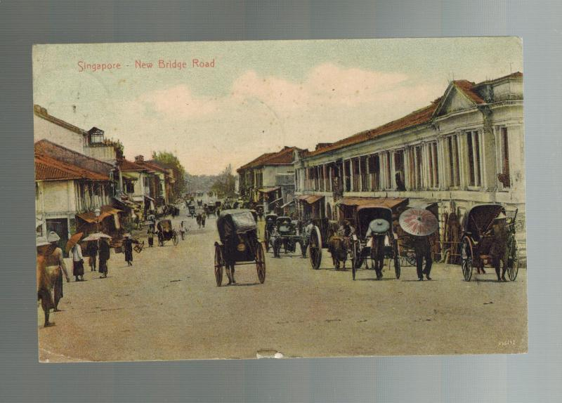 1903 Malacca Straits Settlement Singapore Postcard Cover to USA New Bridge Road