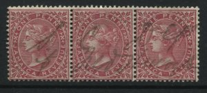 Jamaica QV 1871 1d Revenue in a used strip of 3