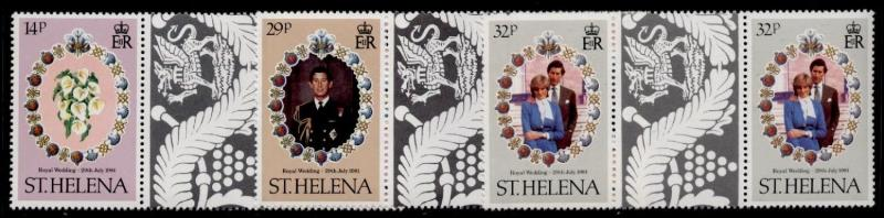 St Helena 353-5 Gutter Pairs MNH Prince Charles, Princess Diana, Flowers