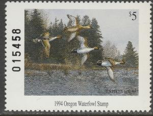 U.S.-OREGON 12, STATE DUCK HUNTING PERMIT STAMP. MINT, NH. VF