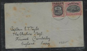 LABUAN COVER  (PP2712B) 1894 COVER 6C LION+8C BOAT COVER TO ENGLAND, SOME STAIN