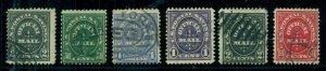 US #O121-6, Official Postal Savings Mail, both sets used, Scott $90.00