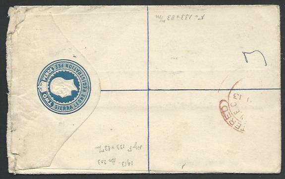 SIERRA LEONE 1913 GV 2d reg envelope uprated used to France................56996