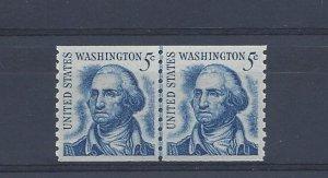 United States, 1304, 5c George Washington Coil Line Pair Shinny Gum, MNH