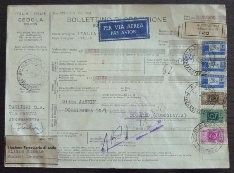 ITALY-YUGOSLAVIA - AIRMAIL - PACKAGE CARD - MIX ISSUES! serbia italien plane J21