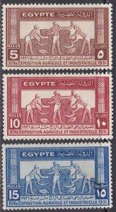 Egypt Sc #163-165 Mint Hinged