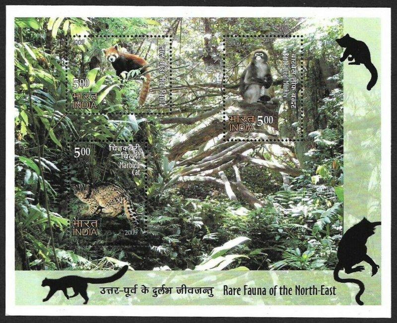 India MNH S/S Rare Fauna Of The North East 2009