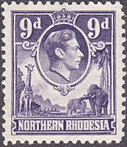 Northern Rhodesia # 39 mnh ~ 9p George VI ~ Giraffe, Elephants