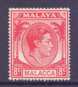 Malaya Malacca Scott 8 - SG8, 1949 George VI 8c Red MH*