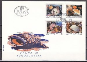 Yugoslavia, Scott cat. 1894-1897. Sea Shells issue. First day cover. ^