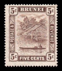 Brunei 1924 KGV 5c chocolate wmk MSCA SG 68 mint