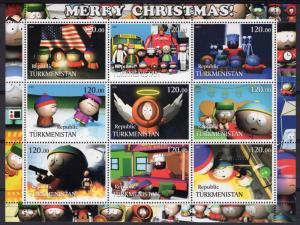 Turkmenistan 2001 South Park - Merry Christmas -American Flag Sheetlet (9) MNH