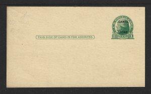 Canal Zone Scott #UX9 Mint Entire 1c O/P on US Postal Card 2019 CV $8.50