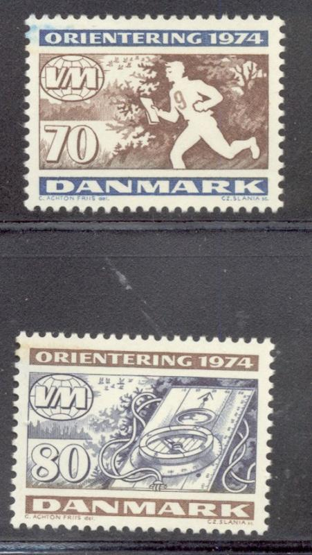 Denmark Sc 558-9 1974 Orienteering stamp set mint NH