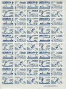 CANADA - #365-#368 - 5c RECREATION SPORTS LR PLATE #2 FULL SHEET (1957) MNH