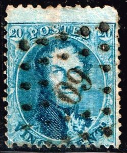 Belgium Stamp 1863 -1865 King Leopold I - Perforated 20C BLUE USED STAMP