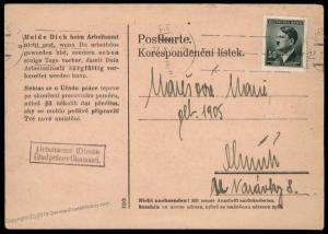 Germany 1944 Arbeitsamt Olmuetz Office Czech Worker Cover 91516