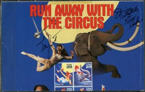 UNITED STATES 1993 CIRCUS OFFICIAL USPS POSTER AUTOGRAPHED FOLDED SLIGHT CREASE