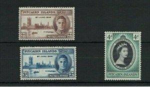 MPN1) Pitcairn Islands 1946 Victory 1953 Coronation MUH