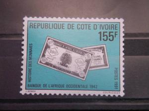 IVORY COAST, 1991, MNH 155f, History of Money, Scott 897