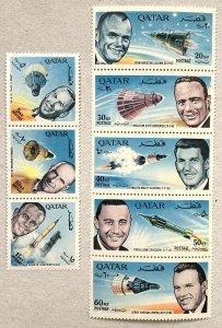 Qatar 1966 Astronaut strips, MNH. Scott 104-104A CV $16.50. Mi 142-149