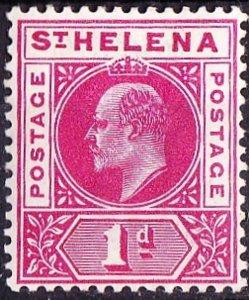 ST HELENA 1902 KEDVII 1d Carmine SG54 MH