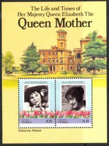 TUVALU NANUMAGA 1985 $1.20+$1.20 QUEEN MOTHER'S 85th Birthday SS Sc 49 MNH