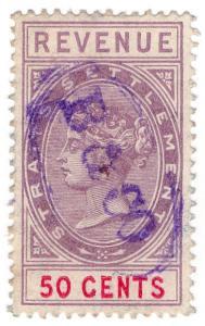 (I.B) Malaya (Straits Settlements) Revenue : Duty Stamp 50c