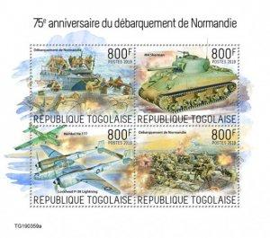 TOGO - 2019 - Normandy Landings - Perf 4v Sheet - MNH