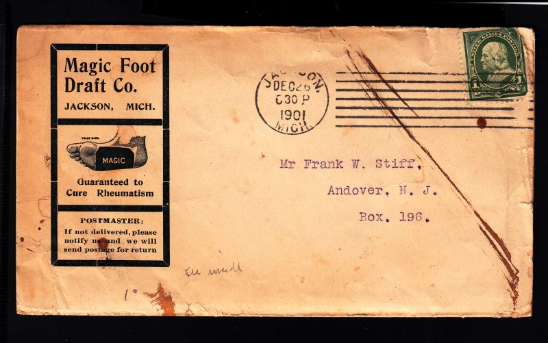 Magic Foot Draft cover using scarce pennysaver envelope w/enclosure!