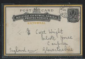 BRITISH CENTRAL AFRICA (P2709B) 2D EXTERNAL PS TO ENGLAND 1898 WITH MSG