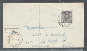NIUE (P2708B) 1937 KEG 1/- REG SINGLE FRANK TO USA