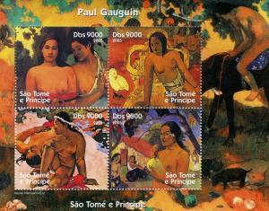 Sao Tome & Principe 2005 PAUL GAUGUIN Nudes Paintings s/s Perforated mnh.vf