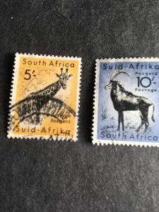 South Africa 2015 Scott #212&213 Used Cat.$5.35 Two Hi-V 5sh Giraffe10shAntelope