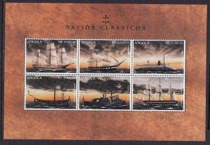 D2-Angola-Sc#962-unused NH sheet of 6-Classic Ships-1996-