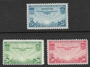 Doyle's_Stamps: MH 1935-1937 Airmail Set Scott #C20* to #C22*