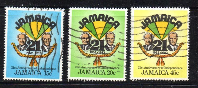 Jamaica Sc 560-2 1983 21 Years Independent stamp set used