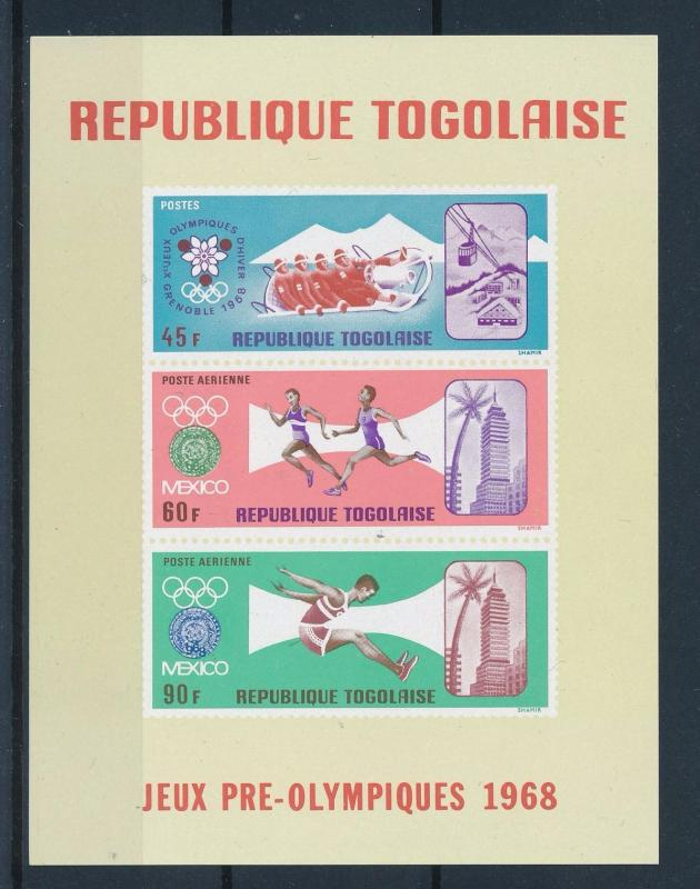 [61084] Togo 1967 Olympic games Mexico Grenoble Athletics MNH Sheet