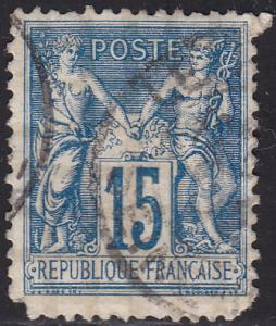 France 103 USED 1892 Peace and Commerce 15c