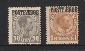 Denmark the 50ore & 1k brown Parcel Post from the 1919 series both MNG